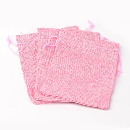 NBEADS 5 Pcs 7x5 Inch Carmine Burlap Bags with Drawstring Gift Bags for Wedding Party, Arts Crafts Projects Bags, Sack Bags Jewelry Pouches