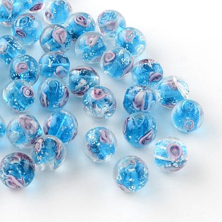 Nbeads Handmade Luminous Inner Flower Lampwork Beads, Round, DeepSkyBlue, 8mm, Hole: 1mm