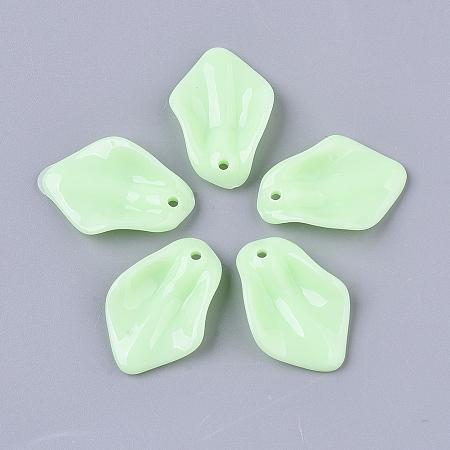 Nbeads Opaque Acrylic Pendants, Petal/Leaf, PaleGreen, 24x16.5x4.5mm, Hole: 1.5mm
