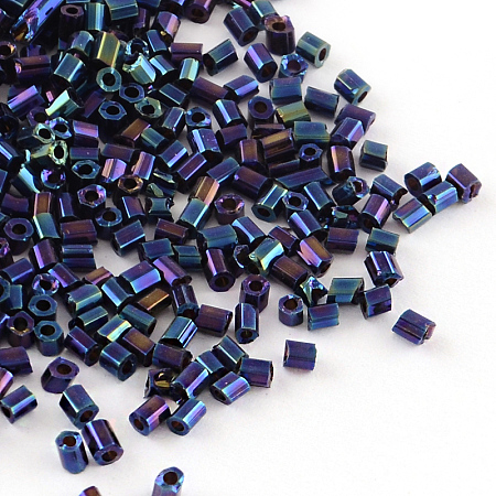 Tube Plated Glass Bugle Beads, Iris Round, Blue Plated, 2~3x2mm, Hole: 1mm; about 2222pcs/50g