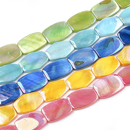 ARRICRAFT AB Color Freshwater Shell Bead Strands, Dyed, Rectangle, Mixed Color, 21x15x3~4mm, Hole: 1mm, about 19pcs/strand, 15.3 inches