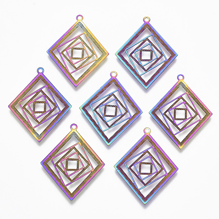 NBEADS Vacuum Plating 201 Stainless Steel Filigree Pendants, Etched Metal Embellishments, Rhombus, Multi-color, 28.5x22.5x0.4mm, Hole: 1.2mm