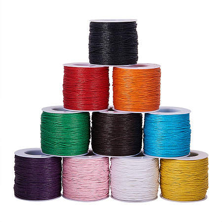 PandaHall Elite Multicolor Diameter 1mm Waxed Cotton Cord Beading String for Jewelry Making Crafting Beading, about 80yards(74m)/roll