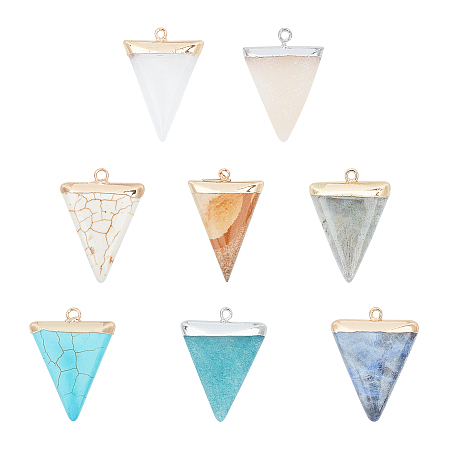 NBEADS Electroplate Natural & Synthetic Mixed Gemstones Pendants, Top Plated, with Iron Loops, Triangle, 30~34x23x5~5.5mm, Hole: 1.6mm; 8materials, 1pc/material, 8pcs/box