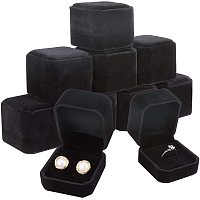 BENECREAT 10 Packs 1.9x2.1x1.6 Black Velvet Ring Boxes Square Earring Jewelry Box for Proposal Engagement Wedding Ceremony and Gift Favor