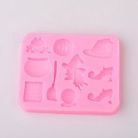 Arricraft Halloween Theme Design DIY Food Grade Silicone Molds, Fondant Molds, For DIY Cake Decoration, Chocolate, Candy, Soap, UV Resin & Epoxy Resin Jewelry Making, Random Single Color or Random Mixed Color, 69x85x9mm