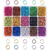 PH PandaHall 15 Color 8mm Open Jump Rings, 1950pcs Aluminum Jump Rings for Choker Necklaces Bracelet Chain Maille Chainmail Jewelry Making