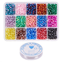 PandaHall Elite About 3450pcs 15 Color 4mm Round Spray Painted Crackle Glass Beads Assortment Lot with Crystal Elastic Thread (0.8mm; 5m/roll)