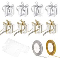 """BENECREAT 30Pcs 2.7x2.7x2.7"""" Clear Plastic Favor Box with 2 Rolls 10mm Wide Gold and Silver Glitter Ribbons for Wedding Party Birthday Candy Chocolate Presents"""