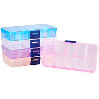 PandaHall Elite 5 Pack 10 Grids Rectangle Plastic Bead Storage Box Case Container Jewelry Organizer, 68 x 129 x 22mm