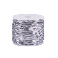 PandaHall Elite 2mm 50m/ 54 Yards Metallic Tinsel Elastic Cord Polyester Ribbon Stretch Cord Jewelry Making Gift Wrap Ribbon, Silver