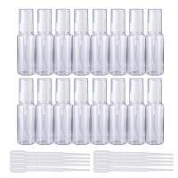 BENECREAT 20 Pack 1.7oz Portable Plastic Pump Bottles Emulsion Bottle & 10 Pack 2ml Plastic Pipette Droppers for Cream, Emulsion, Lotion