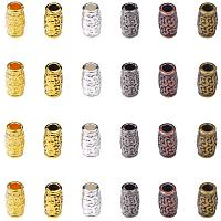 PandaHall Elite 180pcs 6 Color Column Spacer Beads Tibetan Filigree Tube Metal Spacers for Bracelet Necklace Jewelry Making, Hole: 3.5mm
