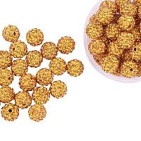 ARRICRAFT 100 Pcs 10mm Topaz Shamballa Pave Disco Ball Clay Beads, Polymer Clay Rhinestone Beads Round Charms Jewelry Makings