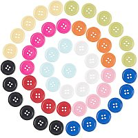 NBEADS 200 Pcs Assorted Mixed Color Resin Buttons 4 Holes Round Shape Buttons for Sewing DIY Crafts Manual Button Painting