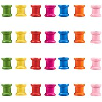 NBEADS 200 PCS Mini Dyed Wooden Empty Spools, Colorful Wooden Spools Thread Bobbin Cord Wire Sewing for Cross Stitch Embroidery Floss Thread Storage