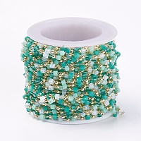ARRICRAFT Handmade Glass Beaded Chains, Soldered, with Brass Findings, with Spool, Long-Lasting Plated, Real 18K Gold Plated, Cube, Dark Cyan, 2x2.5x2.5mm, 2mm, about 3.28 Feet(1m)/roll