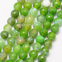 """Nbeads Natural Fire Agate Bead Strands, Round, Grade A, Faceted, Dyed & Heated, LawnGreen, 6mm, Hole: 1mm; about 61pcs/strand, 15"""""""