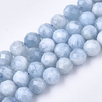 Natural Aquamarine Beads Strands, Faceted, Round, 5.5~6x6mm, Hole: 1mm; about 32pcs/strand, 7.48 inches