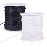 PandaHall Elite 200 Yards 2 Color 1mm Waxed Cotton Thread Cords Thread Beading String Spool for Jewelry Making and Macrame Supplies (Black & White, 100 Yards Each Roll)