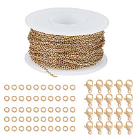 SUNNYCLUE DIY Jewelry Kits, with 304 Stainless Steel Soldered Cable Chains, Lobster Claw Clasps and Open Jump Rings, Golden, 2x1.5x0.4mm; about 10m/roll, 1roll