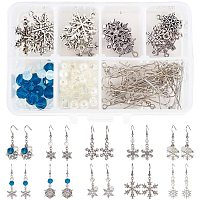 SUNNYCLUE DIY Earring Making, with Tibetan Style Alloy Pendants, Glass Beads, Brass Earring Hooks, Iron Eye Pin and Iron Head Pins, Snowflake, Mixed Color, 11x7x3cm