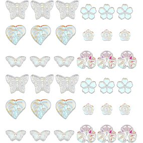 Pandahall Elite 120pcs 6 Styles Butterfly Beads, Flower Leaf Glass Beads Animal Plant Charms Crystal Pendants Spacers for Spring Summer Earring Bracelet Necklace Jewelry Making Decorations