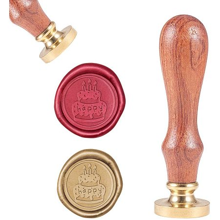 CRASPIRE Wax Seal Stamp, Vintage Wax Sealing Stamps Birthday Cake Retro Wood Stamp Removable Brass Head 25mm for Wedding Envelopes Invitations Embellishment Bottle Decoration Gift Packing