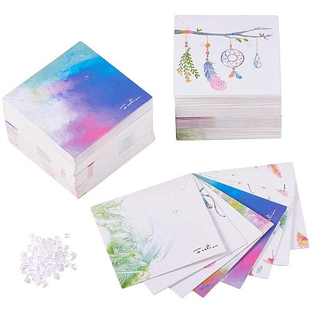 PandaHall 160pcs 8 Colors Necklace & Earring Display Cards, Feather/Umbrella Rectangle Display Cards with 200pcs Plastic Ear Nuts, 59~60x59~60x0.5mm