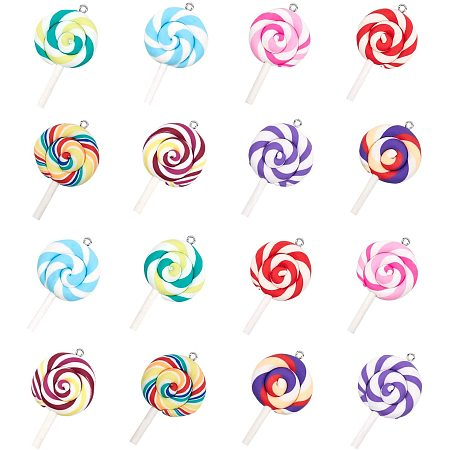NBEADS 32 Pcs 8 Colors Polymer Clay Lollipop Pendants, Handmade Pendant Charms for DIY Crafts Making
