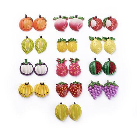 NBEADS Fruit Theme Resin Cabochons, Imitation Food, Mixed Color,  7.2x8cm; 52pcs/box