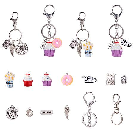 SUNNYCLUE 1 Bag DIY Create 6 Sets Swivel Clasp Keychain Key Ring Holder Jewelry Making Kit with Dessert Food Polymer Clay Pendants, Silver