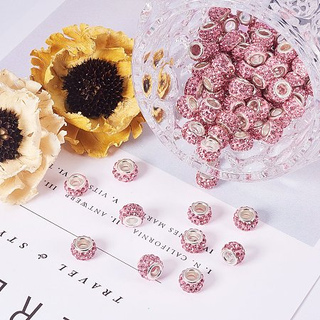 NBEADS 100pcs Light Rose Color Pave Crystal Clay Beads, Rhinestone Large Hole European Charms Beads fit Bracelet Jewelry Making