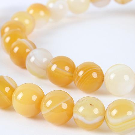 Nbeads Natural Gemstone Agate Round Bead Strands, Dyed, DarkOrange, 8mm, Hole: 1mm; about 49pcs/strand, 14.96