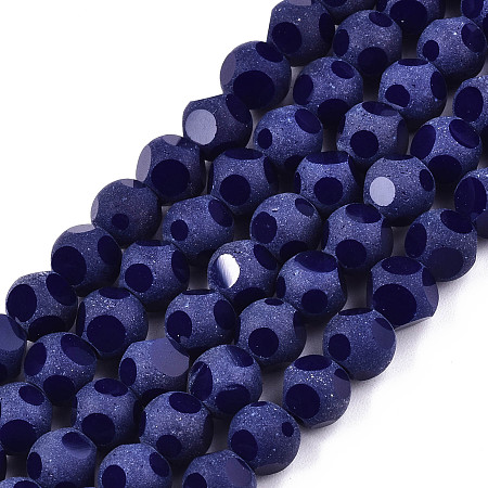 ARRICRAFT Transparent Glass Beads Strands, Faceted(6 Facets), Frosted Round, Dark Slate Blue, 6x5.5mm, Hole: 1.2mm; about 98~100pcs/strand, 21.65 inches~22.83 inches(55~58cm)