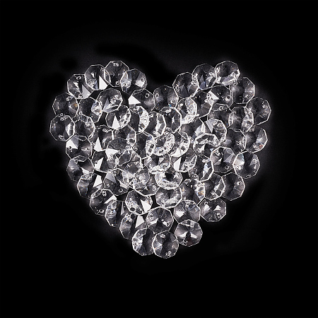 PandaHall Elite 150 PCS 14mm Clear Crystal 2 Hole Octagon Beads Glass Chandelier Prisms Lamp Hanging Decoration Clear Glass Faceted Beads