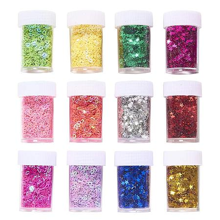 PandaHall Elite 24 Pack 12 Color Glitter Sequins Heart Stars Sequin Paulette Beads for Art Crafts Painting Embellishments, Decoration, Scrapbook, Card Making & Makeup NAI
