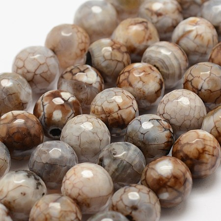 Nbeads Faceted Natural Fire Agate Beads Strands, Round, Dyed & Heated, Khaki, 12mm, Hole: 1.5mm;about 30~32pcs/strand, 14