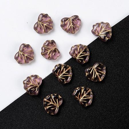 NBEADS Czech Glass Beads, Maple Leaf, MediumPurple, 10.5x13x4mm, Hole: 0.8mm; about 11pcs/10g