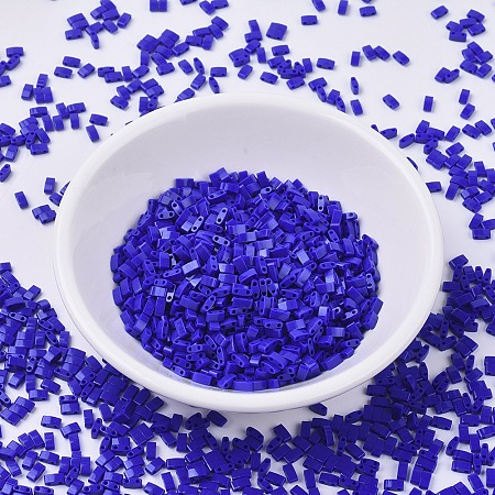 MIYUKI® Half TILA Beads, Japanese Seed Beads, 2 Hole, (HTL414) Opaque Cobalt, 5x2.3x1.9mm, Hole: 0.8mm; about 250pcs/10g
