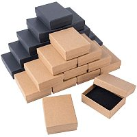 BENECREAT 24 Pack 3.5x2.7x1.2 Kraft Cardboard Jewelry Boxes Brown and Black Necklace Bracelet Ring Box for Jewelry Set Display and Storage