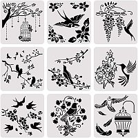 BENECREAT 9PCS 12x12 Inches Mixed Animal Theme Painting Stencil Set, Bird Painting Templates for Art Craft Painting Scrabooking