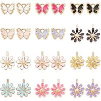 NBEADS 48 Pcs Daisy Flower and Butterfly Enamel Charms Mixed Color Alloy Pendants Charm for DIY Crafts Bracelet Necklace Jewelry Making