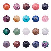 PandaHall Elite 20pcs Half Round Cabochon Flatback Gemstones Beads Healing Quartz Chakra Stone Jewelry Making