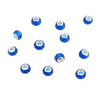 NBEADS 100Pcs Royal Blue Crystal Glass Charms, Faceted Lampwork Beads Large Hole European Charms Beads fit Bracelet Jewelry Making