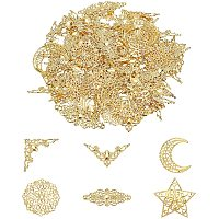 Pandahall Elite 72pcs Iron Filigree Corner Embellishments Hollow Triangle Wrap Connector with 24pcs 4 Styles Filigree Pendant Connector Joiners Links Large Resin Fillers for DIY Jewelry Making