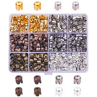 PandaHall 600 Pcs Tibetan Style Iron Flower Bead Caps Spacers 4-Petal 6.5x7mm for Jewelry Making 5 Colors