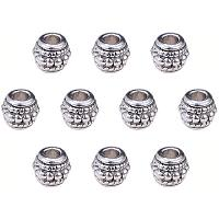 PandaHall Elite 100pcs Bicone Spacers Beads Tibetan Antique Silver Large Hole Jewelry Spacers Charms for Jewelry Makings, 8x6.5mm Hole: 3.5mm