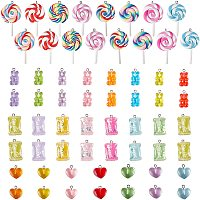 NBEADS 60 Pcs 4 Styles Resin Charms, Polymer Clay Pendants Bear Pendants Candy Pendants Heart Pendant Lollipop Charms for DIY Jewelry Making