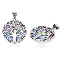 Resin Imitation Paua Shell/Abalone Shell Pendants, with Alloy Findings, Flat Round with Tree of Life, Platinum, 37.5x33.5x3mm, Hole: 6x8.5mm